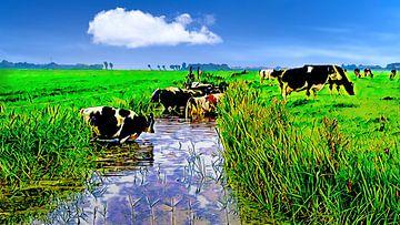 Koeien zoeken verkoeling in de sloot van Digital Art Nederland