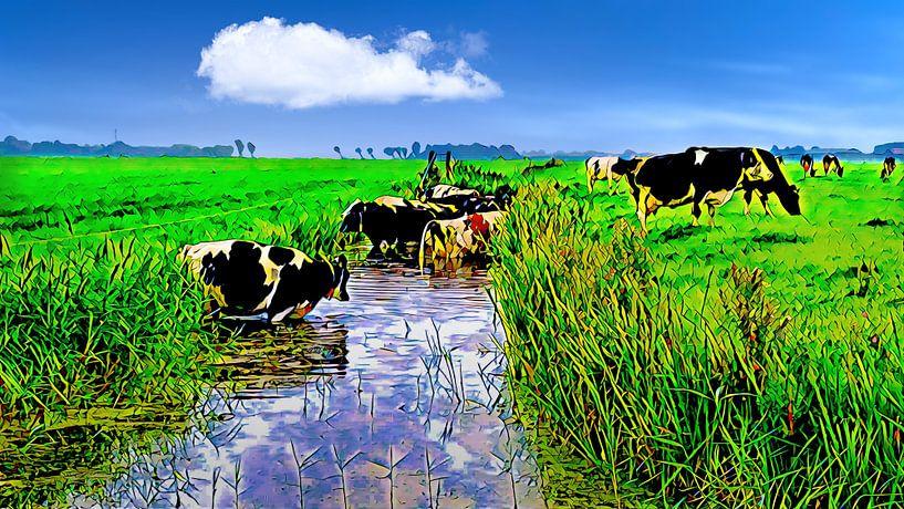 Kühe suchen Kühlung im Graben von Digital Art Nederland