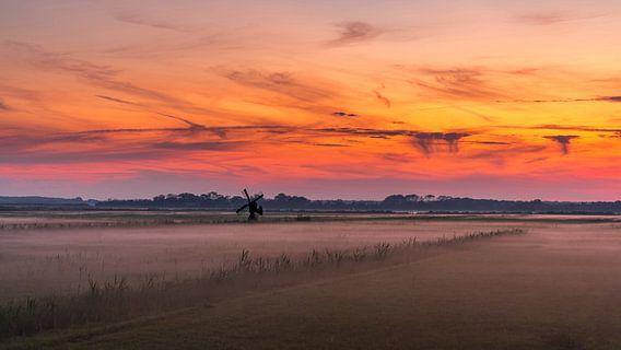Texel zonsondergang De Staart panorama