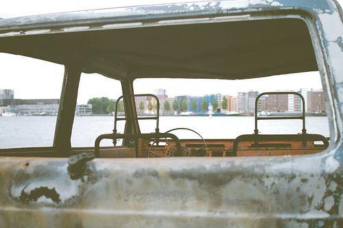 Auto uitzicht Amsterdam.
