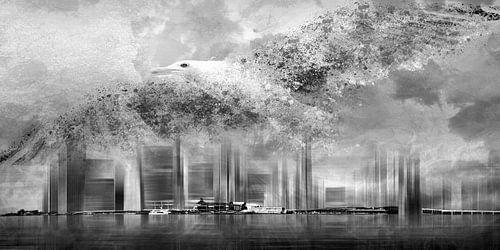 Fantasy Composing NYC & Seagull b/w von Melanie Viola