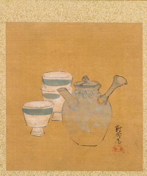 Shibata Zeshin - Blatt aus dem Album mit saisonalen Themen, Bauer mit Korb von 1000 Schilderijen