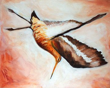 schilderij van opvliegende grutto van Eveline van Oudbroekhuizen