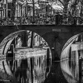 Utrecht, Oudegracht, zwart wit van Patrick Verhoef