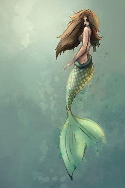 Digitales Kunstwerk einer Meerjungfrau von Emiel de Lange
