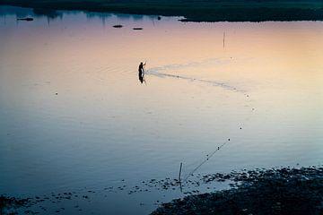 Visser trekt zijn visnet door het water nabij Mandalay Myanmar. van Twan Bankers