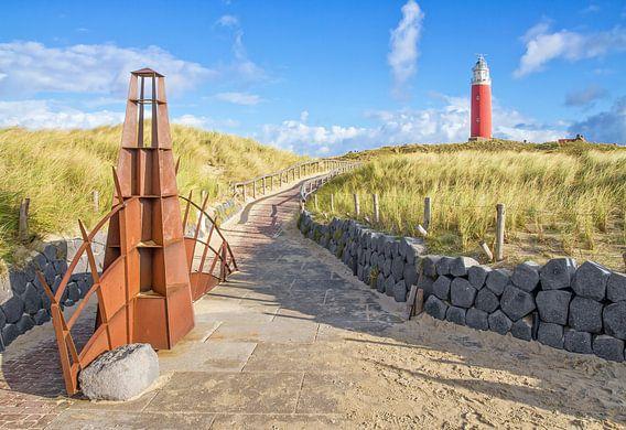 Le phare rouge vif de Texel.