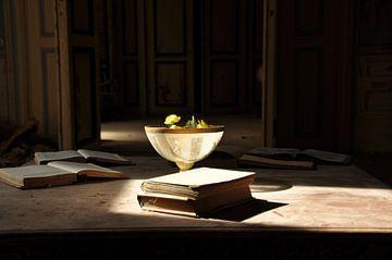 Vaas met boeken in het licht van Roy Coumans