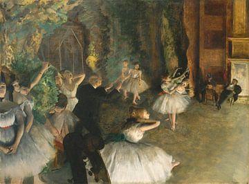 Die Probe des Balletts auf der Bühne, Edgar Degas von Meesterlijcke Meesters