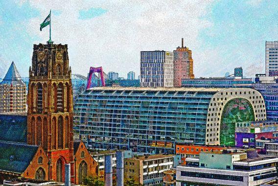 Laurenskerk en Markthal, Rotterdam van Frans Blok