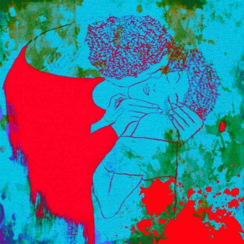 Der Kuss Hommage Gustav Klimt Splash Pop Art PUR