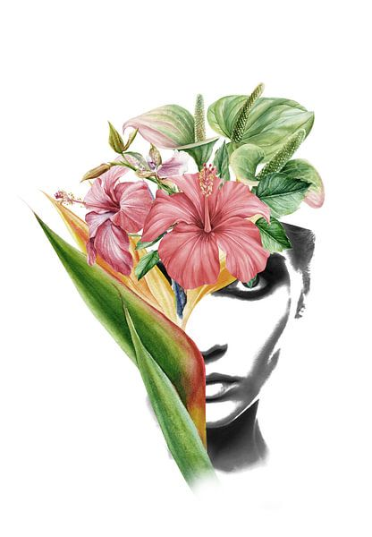 Hibiscus portrait collage van Dreamy Faces