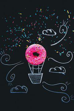 Donuts heteluchtballon, fijne kunst digitaal werk van Photography by Naomi.K