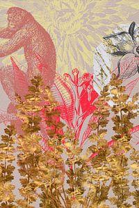 Affe hinter goldenen Blumen