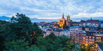 Lausanne aan het meer van Genève in Zwitserland van Werner Dieterich