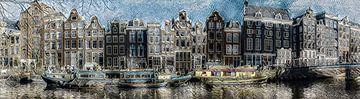 Panorama aan de gracht, Amsterdam van Rietje Bulthuis