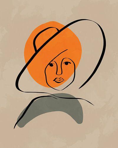 Vrouw met hoed lijn tekening met vormen in oranje en groen