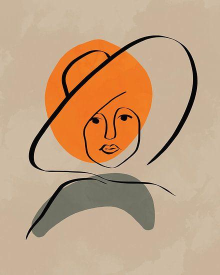 Frau mit Hut Linienzeichnung mit Formen in Orange und Grün