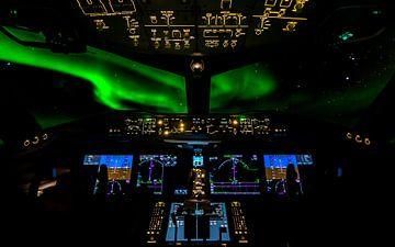Aurora Borealis vanuit de Cockpit van Jack Swinkels