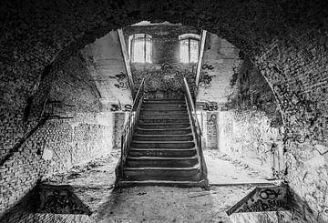 Un des escaliers dans un bâtiment abandonné sur Gonnie van de Schans