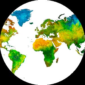 Wereldkaart in Aquarel | Schilderij van Wereldkaarten.Shop