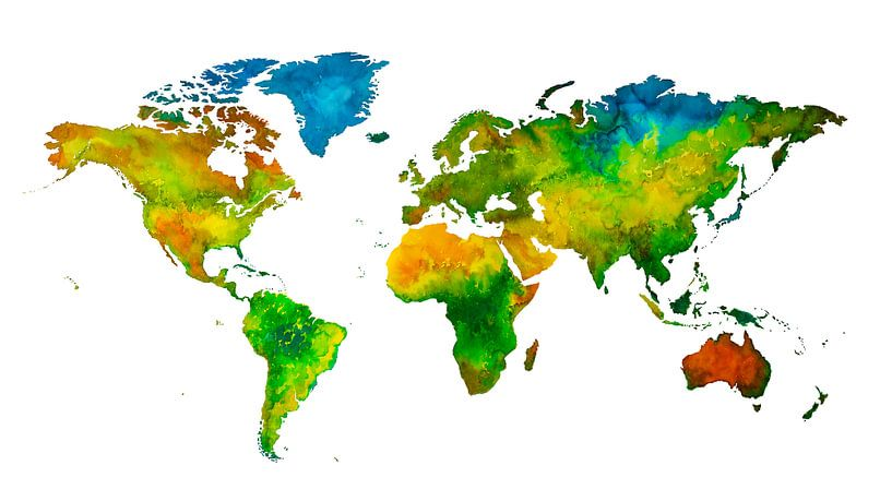 Carte du monde en Aquarelle | Peinture sur Wereldkaarten.Shop