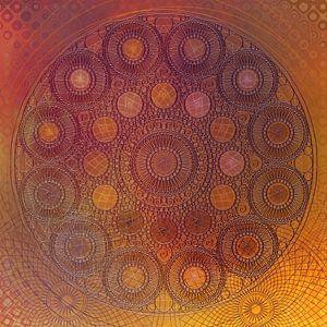 Mandala van cirkels in oranje geel