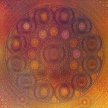 Mandala van cirkels in oranje geel van Rietje Bulthuis