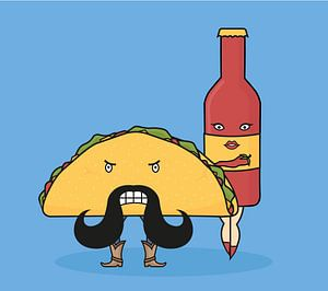 Taco & Hotsauce van Lazyfox Illustrations
