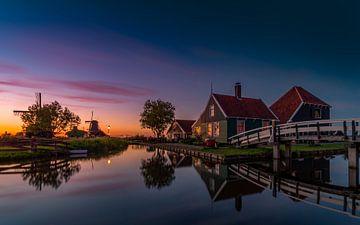 Hollands landschap bij ondergaande zon van Remco Piet