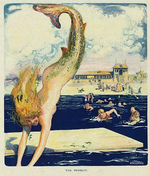 Puck: De Achtervolging van Carl Hassmann, 1910 van Atelier Liesjes