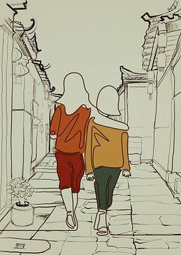 Continuous one line drawing of two girls walking van Rudy en Gisela Schlechter