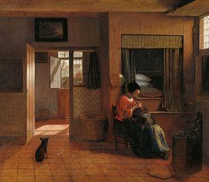 Eine Mutter sucht in den Haaren ihres Kindes nach Läusen, Pieter de Hooch