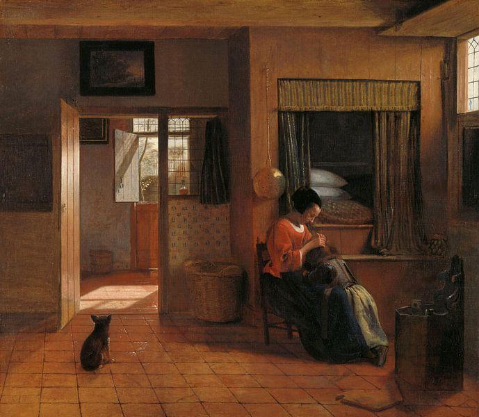 Eine Mutter sucht in den Haaren ihres Kindes nach Läusen, Pieter de Hooch von Meesterlijcke Meesters