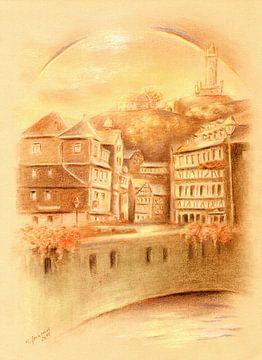 Dillenburg met regenboog van Marita Zacharias