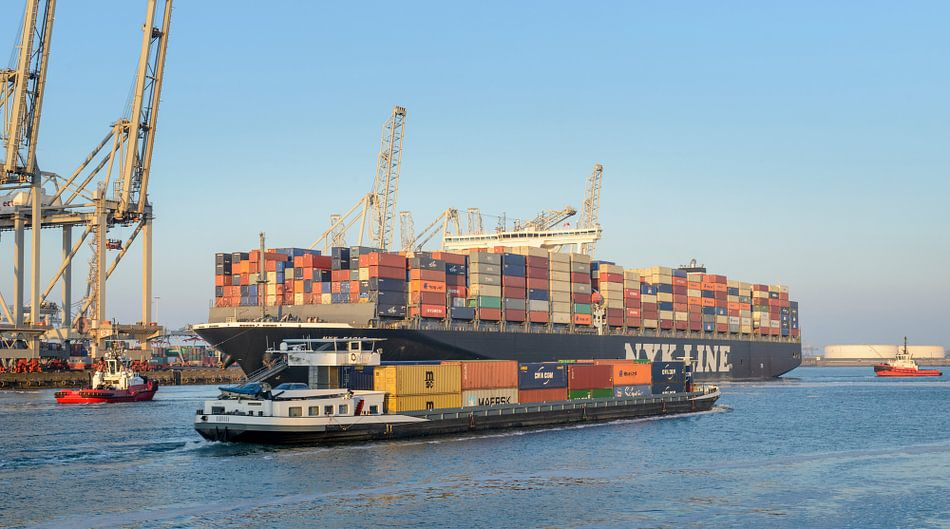 Containerschepen in de aven van Rotterdam van Sjoerd van der Wal