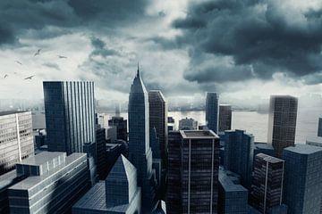 Stadsgezicht met hoge gebouwen voor stormachtige wolken van Besa Art