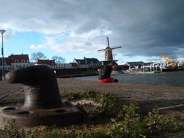 Foto van een windmolen bij de waal sur Wilbert Van Veldhuizen