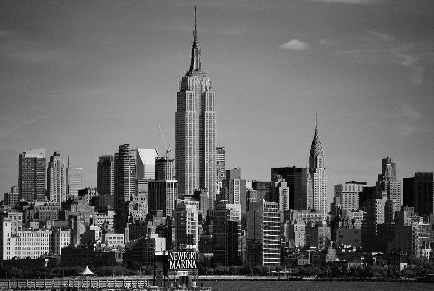 empire state building und new york skyline von jersey city auf leinwand poster bestellen. Black Bedroom Furniture Sets. Home Design Ideas