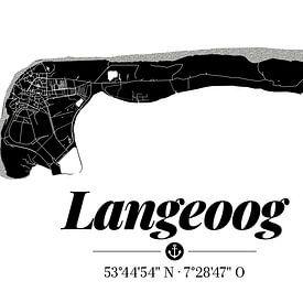 Langeoog | Artistieke landkaart | Eilandsilhouet | Zwart en wit van ViaMapia