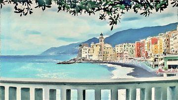 Uitzicht vanaf de Boulevard van Camogli in Italië aan de Italiaanse Rivièra - Schilderij