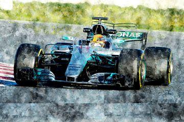 Lewis Hamilton, Mercedes, 2017 van Theodor Decker