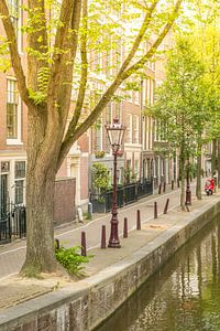 Amsterdam Oudezijds Achterburgwal canal during summer