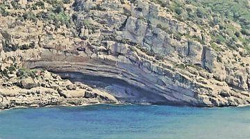 Die Grotte an der Küste von Porto Conte auf Sardinien in Italien - Gemälde von Schildersatelier van der Ven