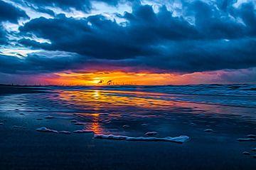 Sonnenuntergang an der Küste. von Nicolaas Digi Art