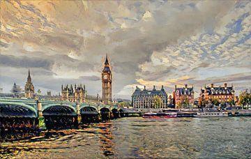 Impressionistisch Schilderij London Bridge in de stijl van Renoir
