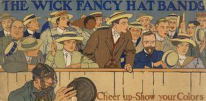 Oude poster over een band voor op een hoed, 1910