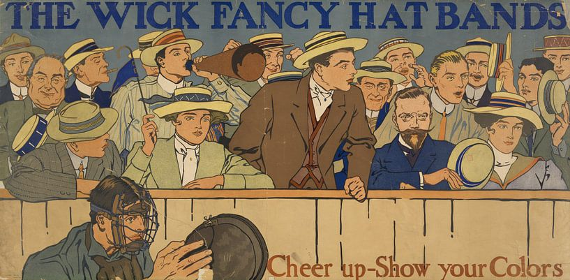 Oude poster over een band voor op een hoed, 1910 van Natasja Tollenaar