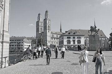 Zürich - Minsterbrug en Grossmünster kerk (zwart-wit) van t.ART