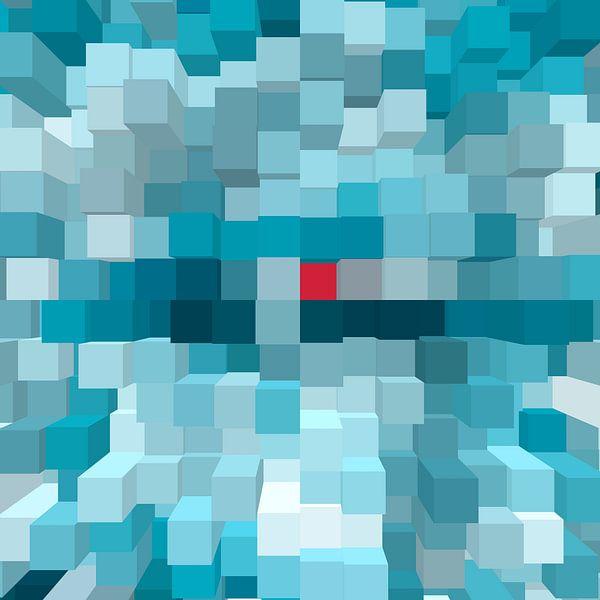 contemporary modern 2d 3d blokken schakkeling hoofd kleur blauw met een uitschieter een rood  blokje